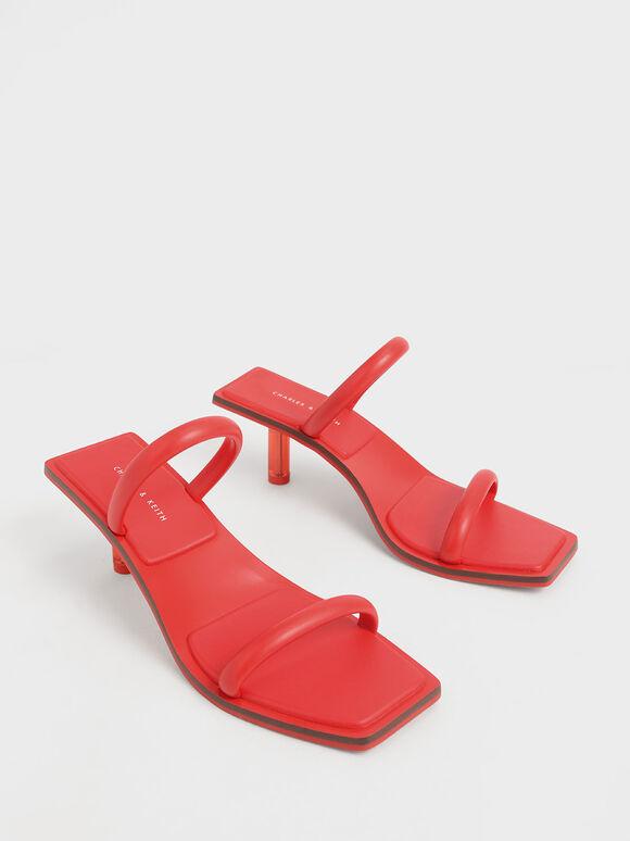 Tubular Strap Heeled Sandals, Red, hi-res
