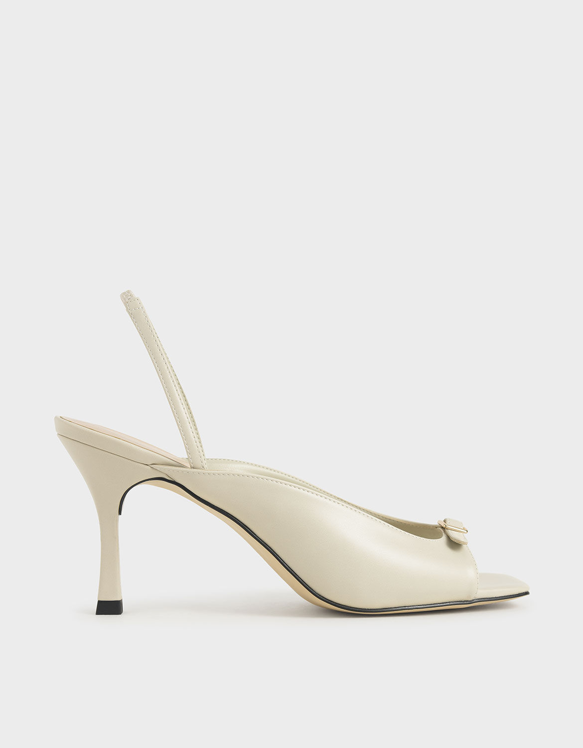 Chalk Front Buckle Slingback Mules