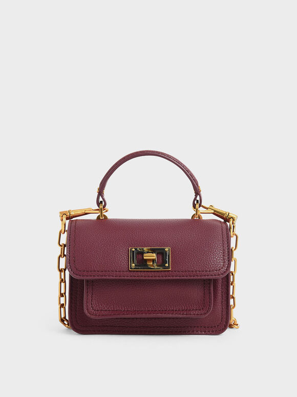 Resin-Effect Buckle Mini Bag, Burgundy, hi-res
