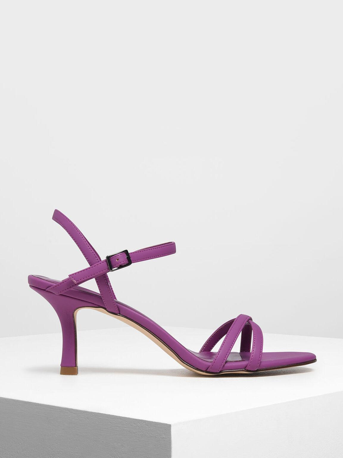 Criss Cross Blade Heel Sandals, Fuchsia, hi-res