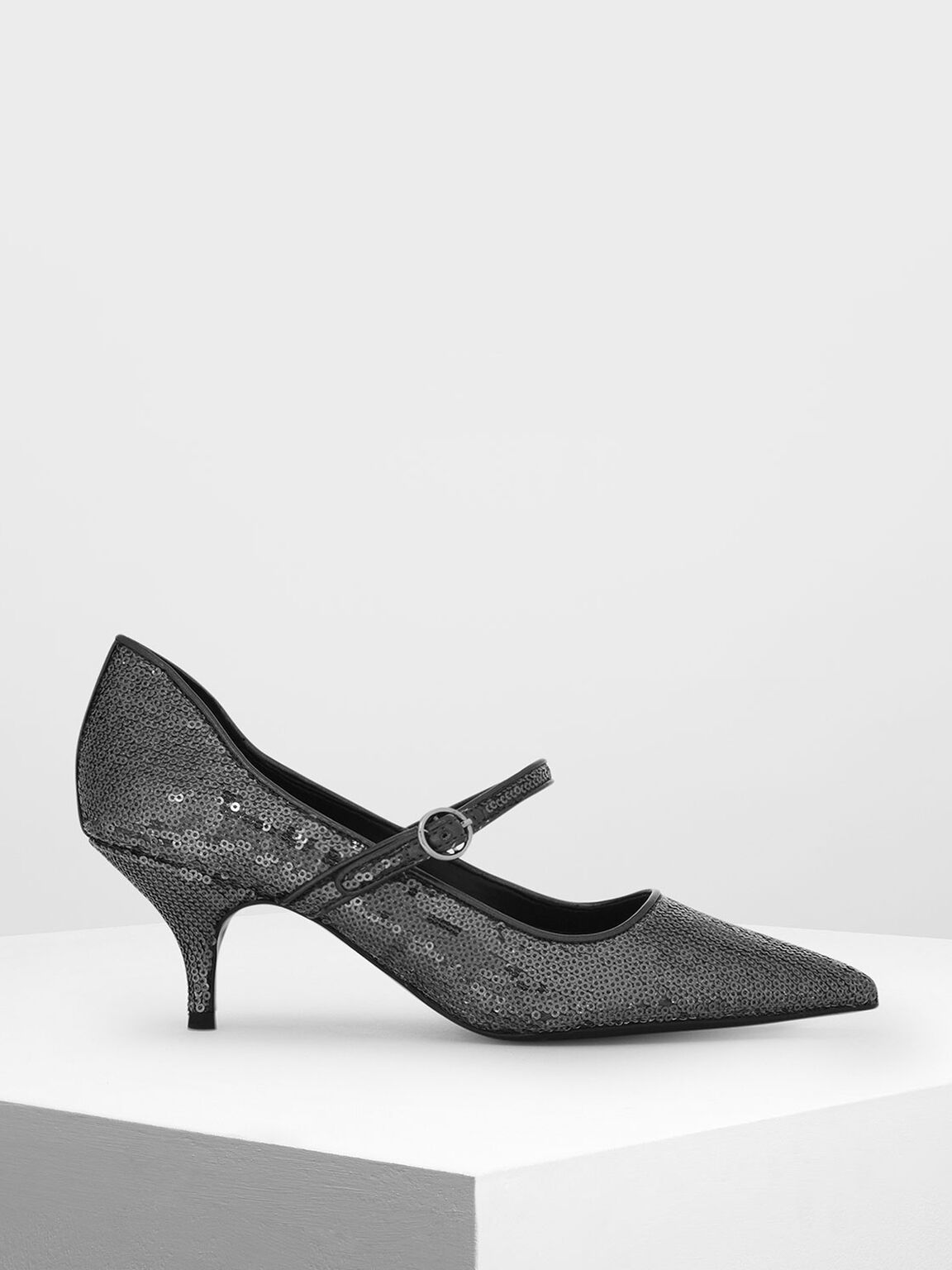 Sequin Detail Mary Jane Heels, Pewter, hi-res