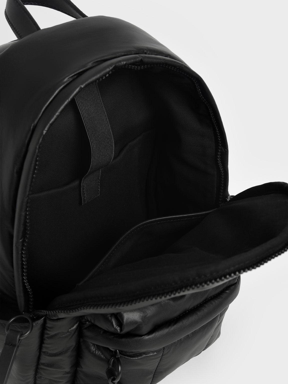 Large Puffy Backpack, Matte Black, hi-res