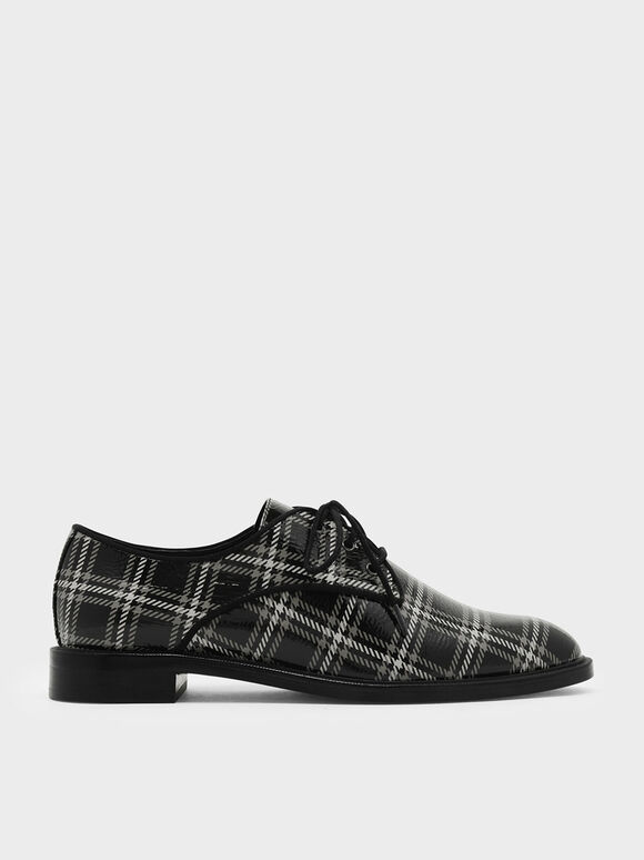 Leather Derby Shoes, Black, hi-res