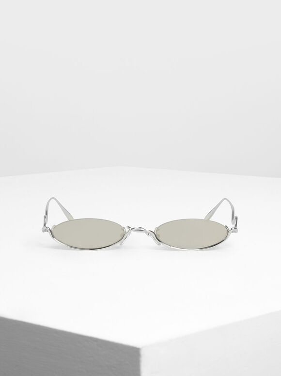 Wire Frame Oval Sunglasses, Silver, hi-res