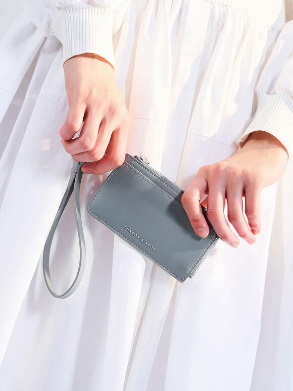 Zip-Around Wristlet Card Holder, Steel Blue, hi-res
