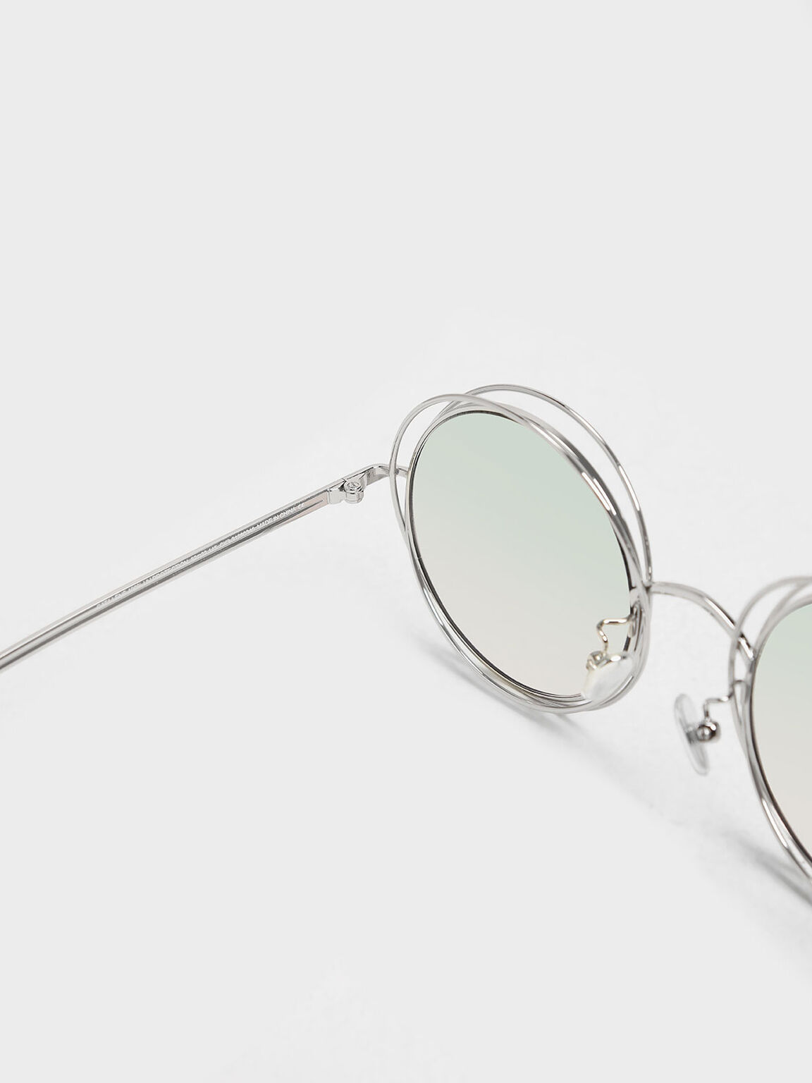 Cutout Frame Round Sunglasses, Silver, hi-res