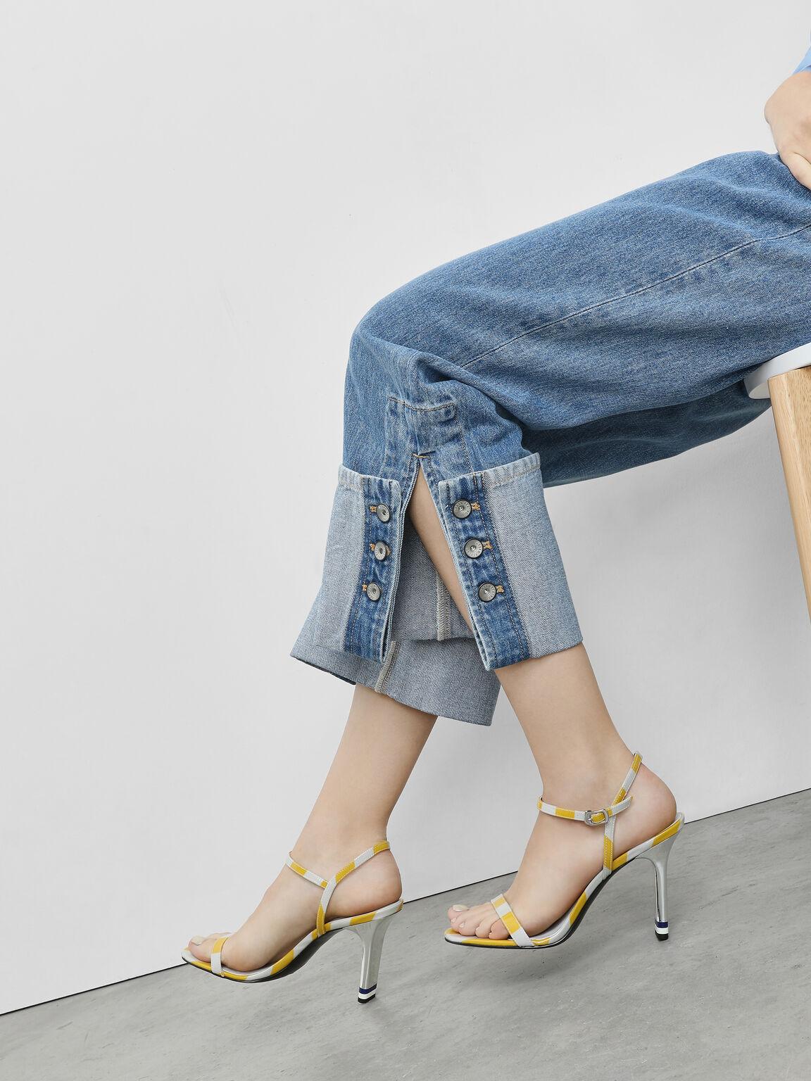Ankle Strap Blade Heel Sandals, Multi, hi-res