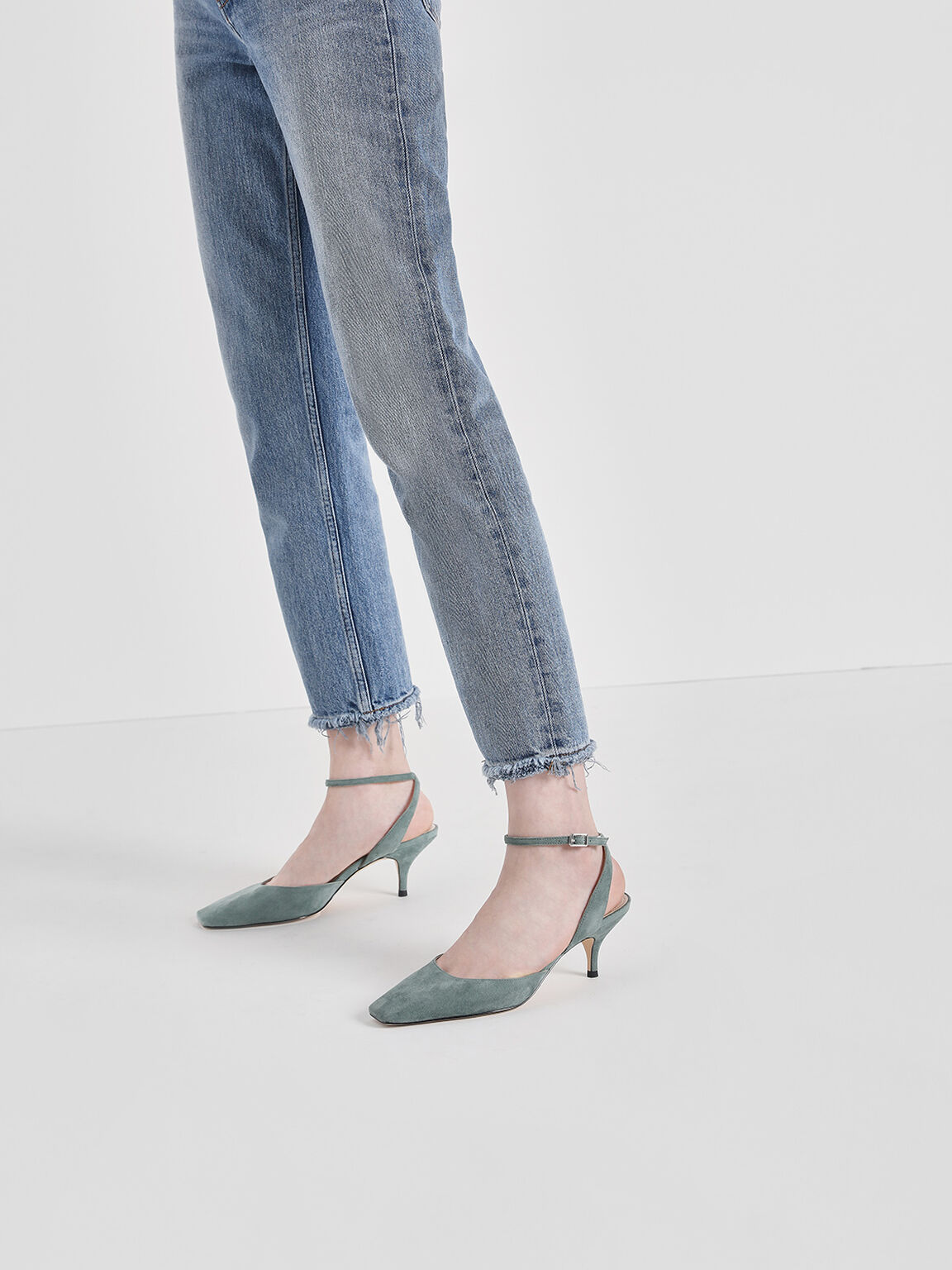 Square Toe Ankle Strap Heels, Mint Green, hi-res