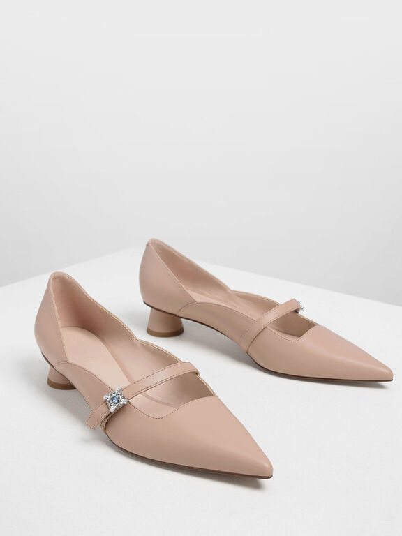 Gem Embellished Cylindrical Heel Mary Jane Pumps, Nude, hi-res