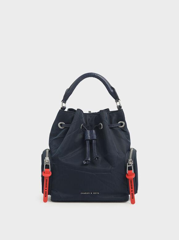 Nylon Drawstring Bucket Bag, Dark Blue, hi-res