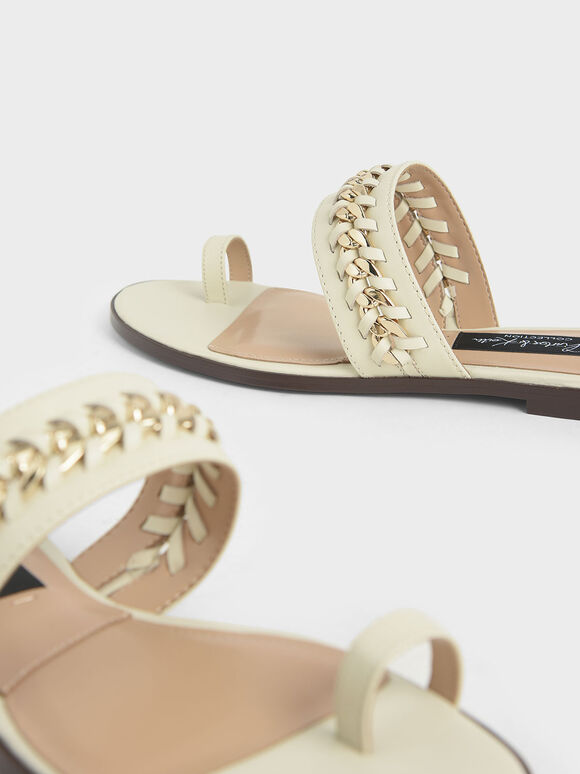 Leather Chain-Link Toe Loop Sandals, Chalk, hi-res