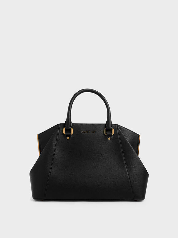 Large Geometric Top Handle Bag, Black, hi-res