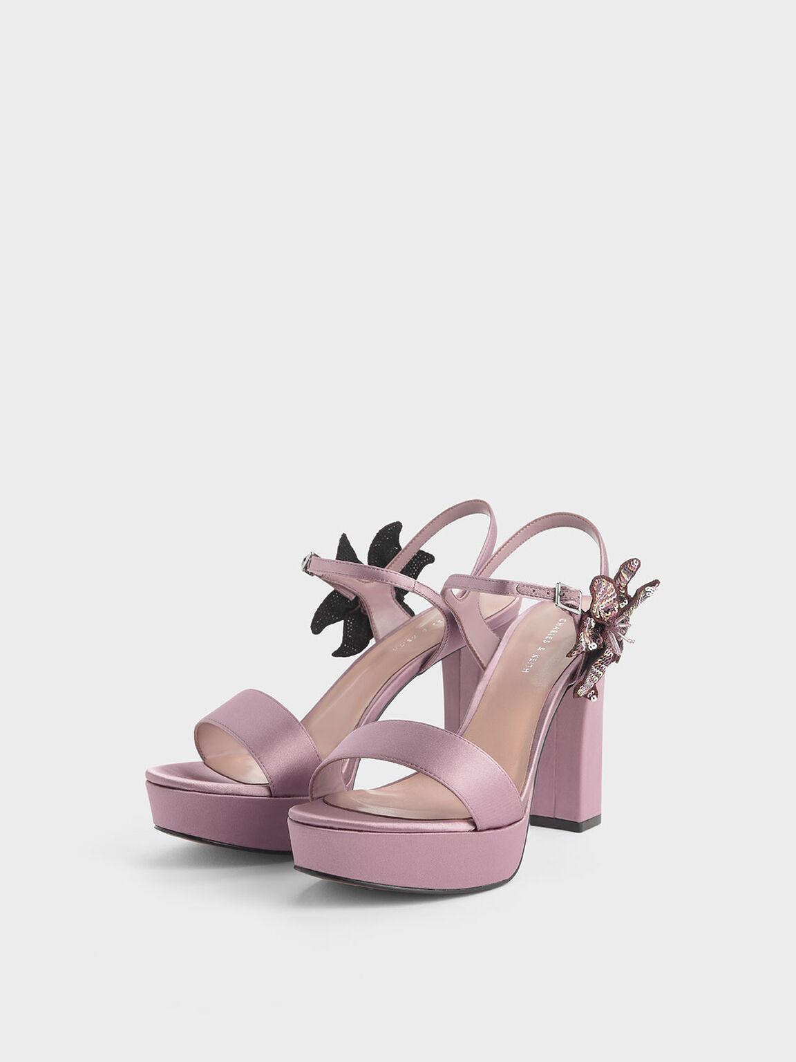Sequin Flower Satin Chunky Platform Heels, Pink, hi-res