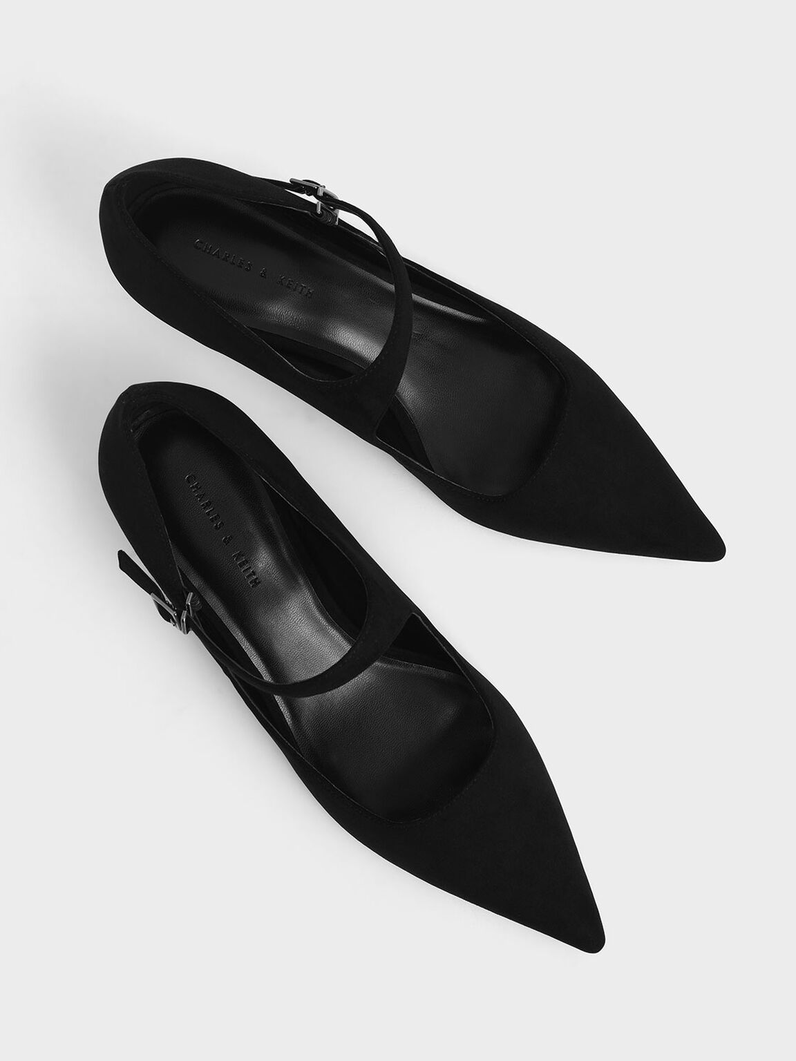 Textured Asymmetric Mary Jane Kitten Heels, Black, hi-res