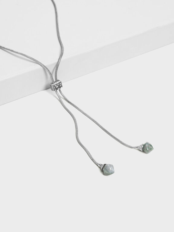 Semi-Precious Stone Drop Necklace, Grey