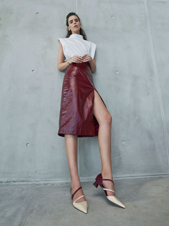 Croc-Effect Two-Tone Asymmetric Strap Pumps, Burgundy, hi-res