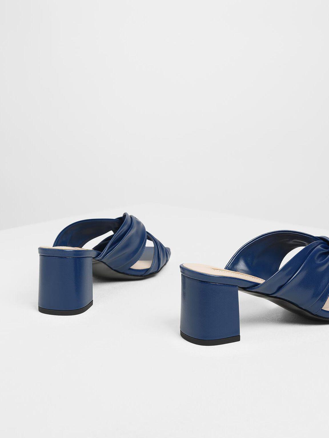 Ruched Block Heel Slide Sandals, Dark Blue, hi-res