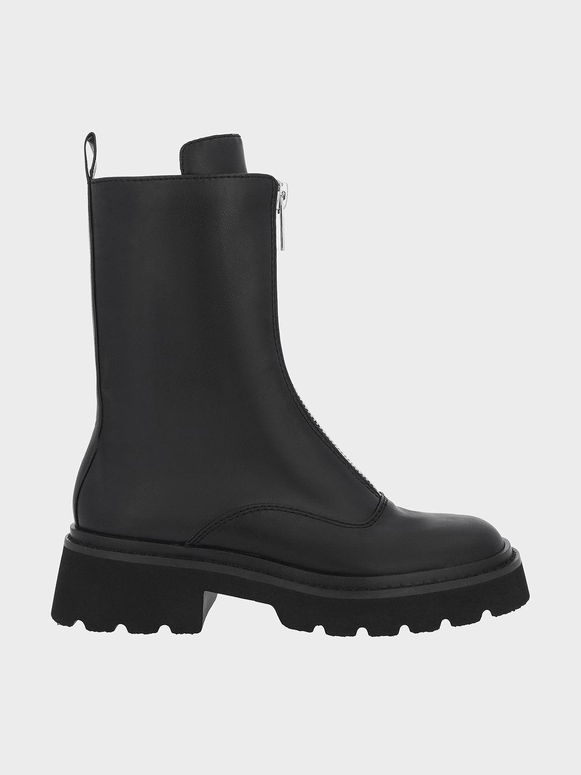 Billie Front-Zip Ankle Boots, Black, hi-res