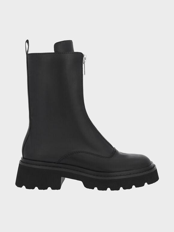 Billie 前拉鍊中筒靴, 黑色, hi-res