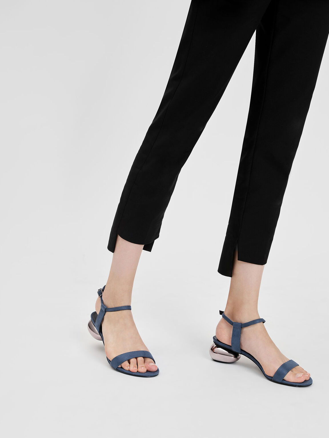 Pebble Heel Sandals, Blue, hi-res