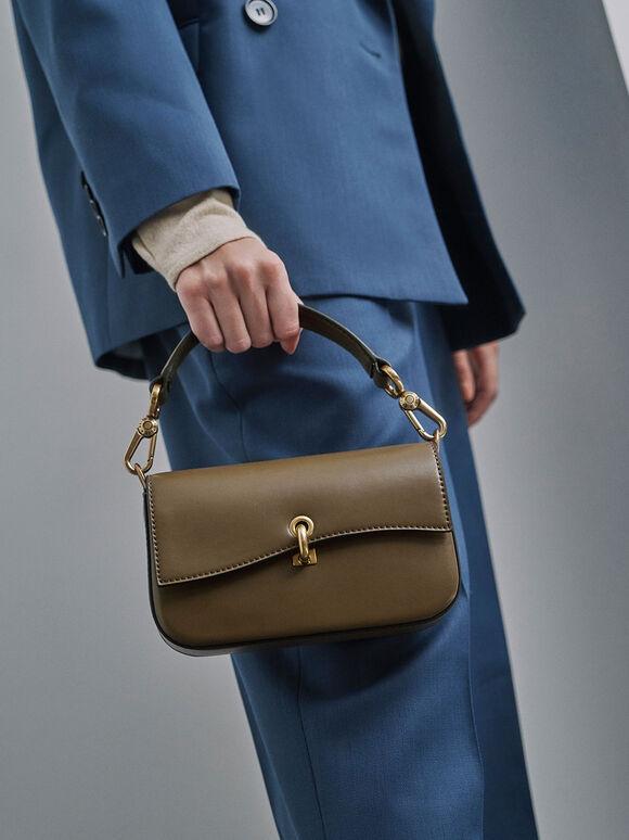 Turn-Lock Front Flap Bag, Khaki, hi-res