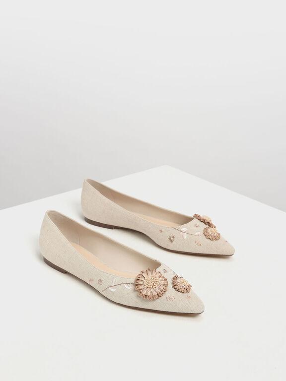 Floral Ballerinas, Taupe, hi-res