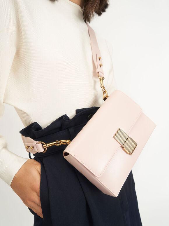 Metallic Push-Lock Clutch, Light Pink, hi-res