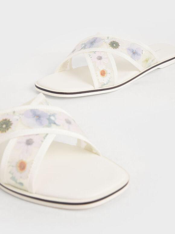 花卉編織帶拖鞋, 白色, hi-res