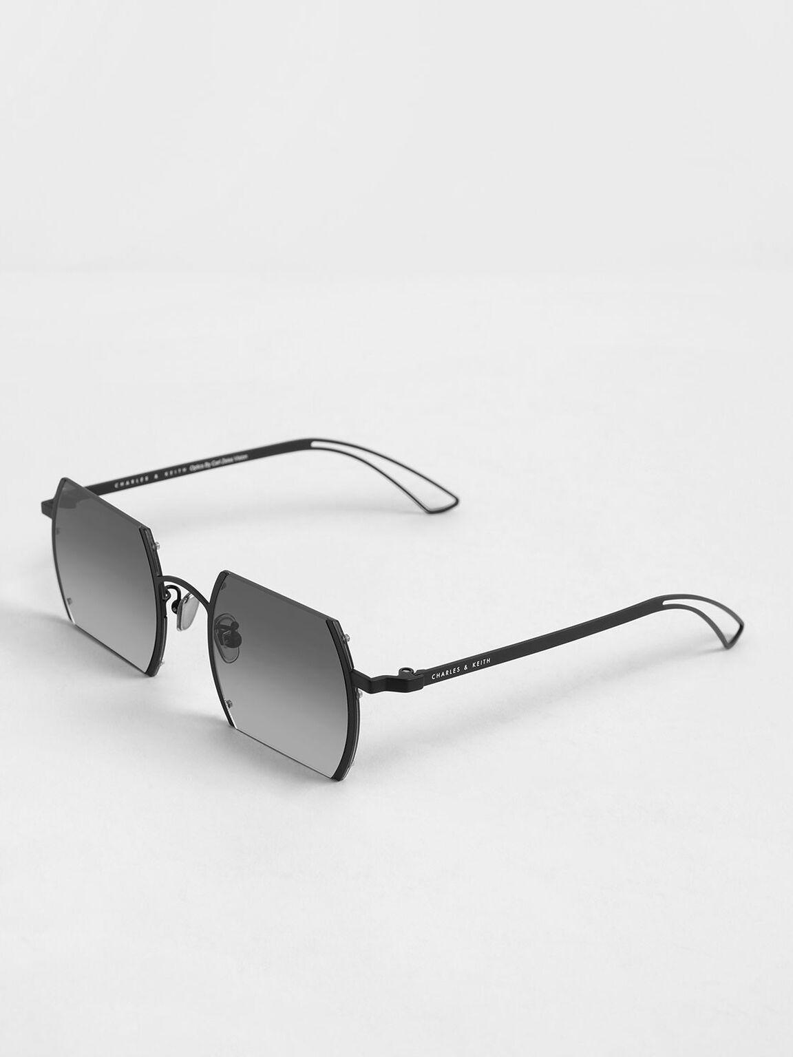 Cut-Off Frame Round Sunglasses, Black, hi-res
