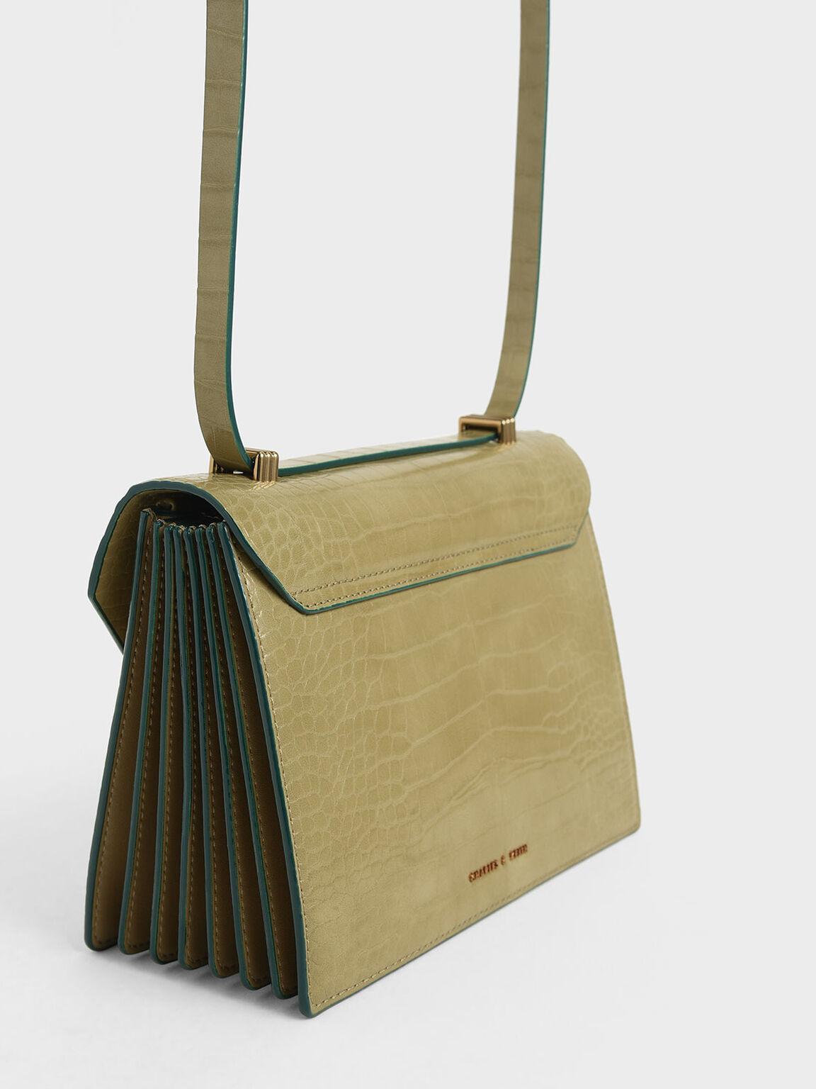 Croc-Effect Metal Accent Crossbody Bag, Sand, hi-res