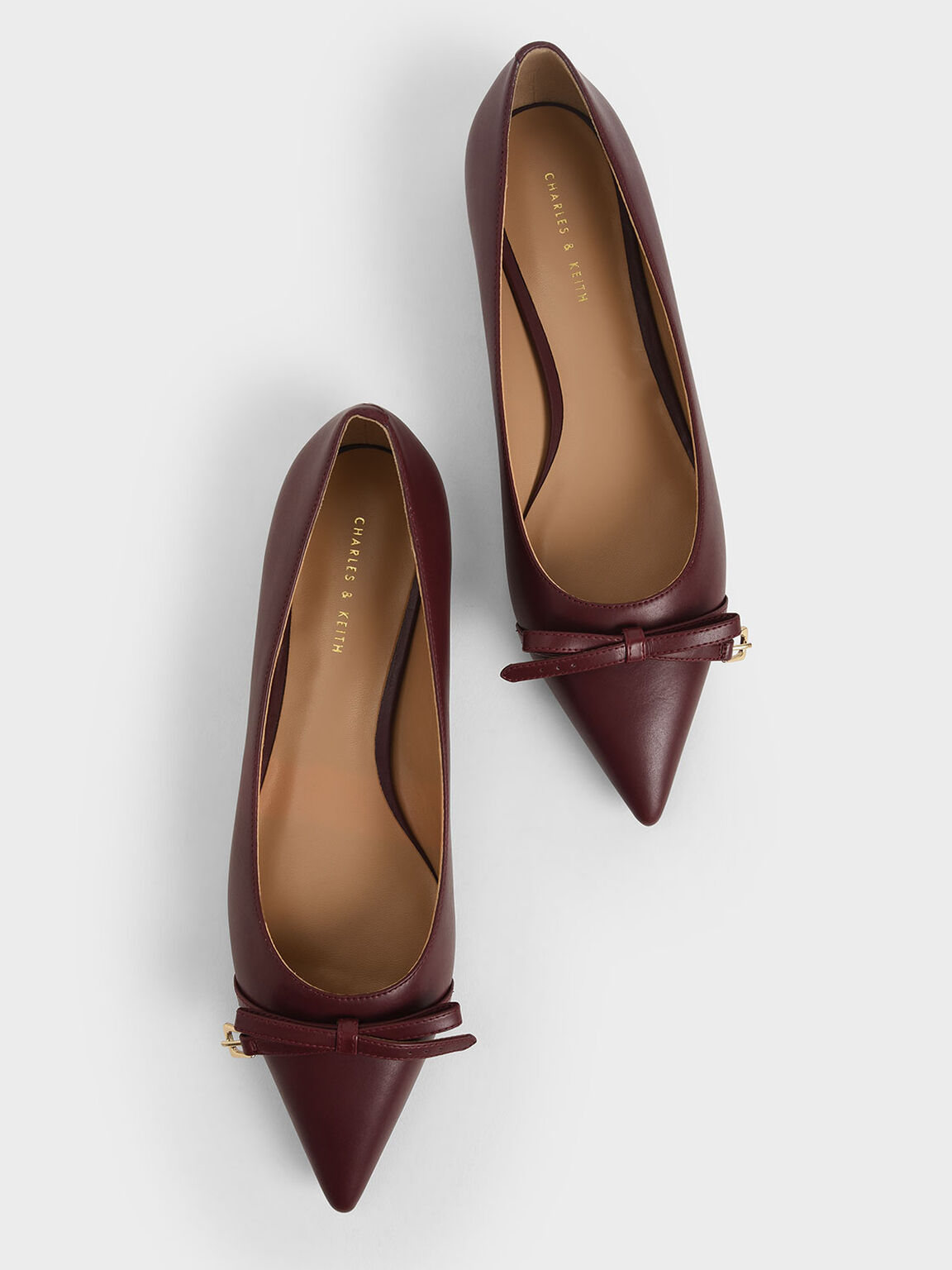 Bow Ballerina Flats, Maroon, hi-res