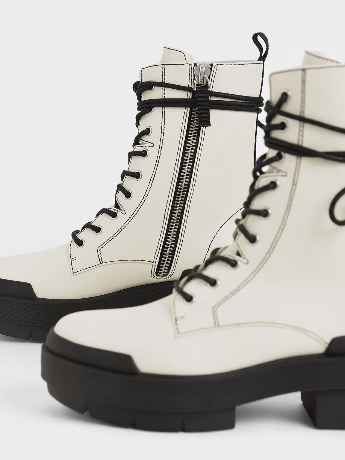 綁帶厚底中筒靴, 石灰白, hi-res