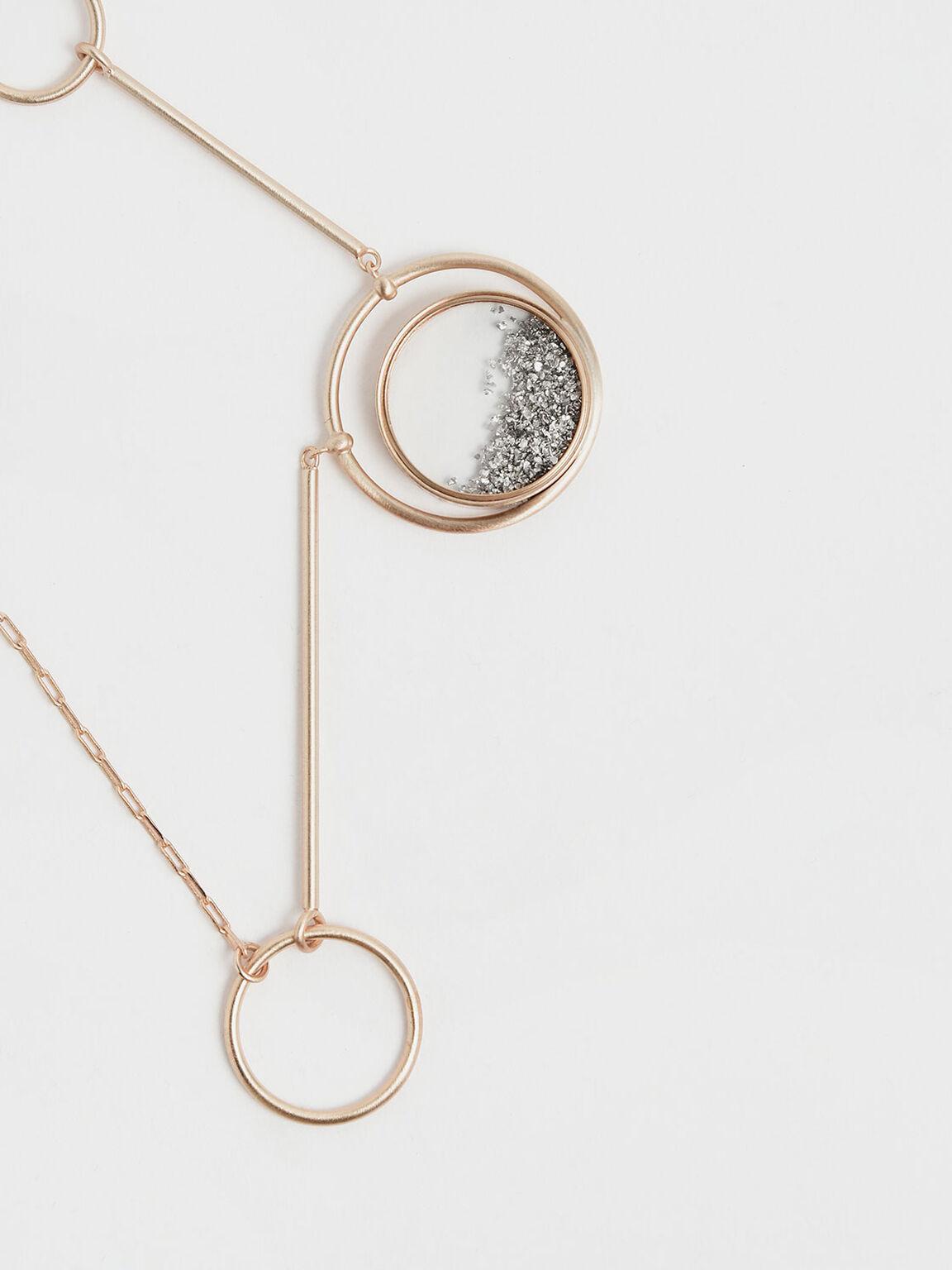 Silver Sparkling Sandstone Ring Detail Floating Locket Matinee Necklace, Gold, hi-res