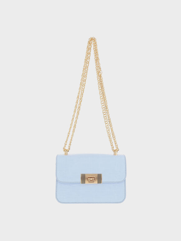 Alia Chain-Strap Snake Print Crossbody Bag, Blue, hi-res
