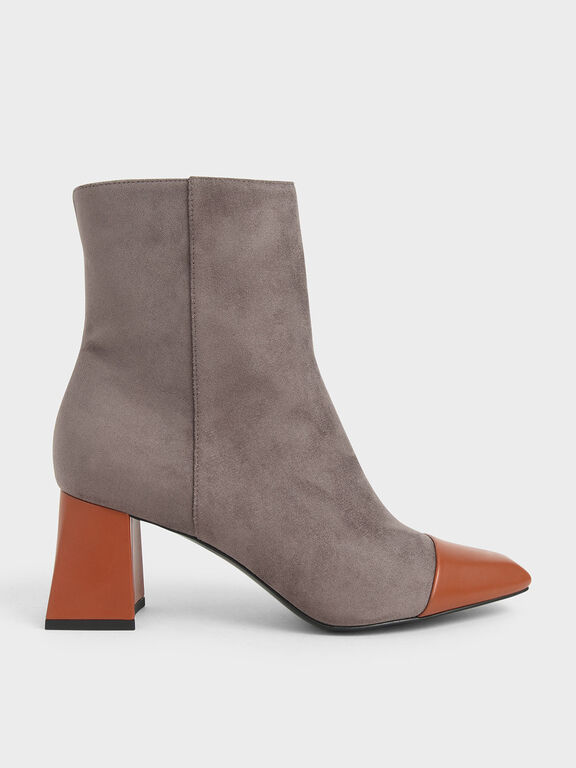 Two-Tone Textured Calf Boots, Dark Brown