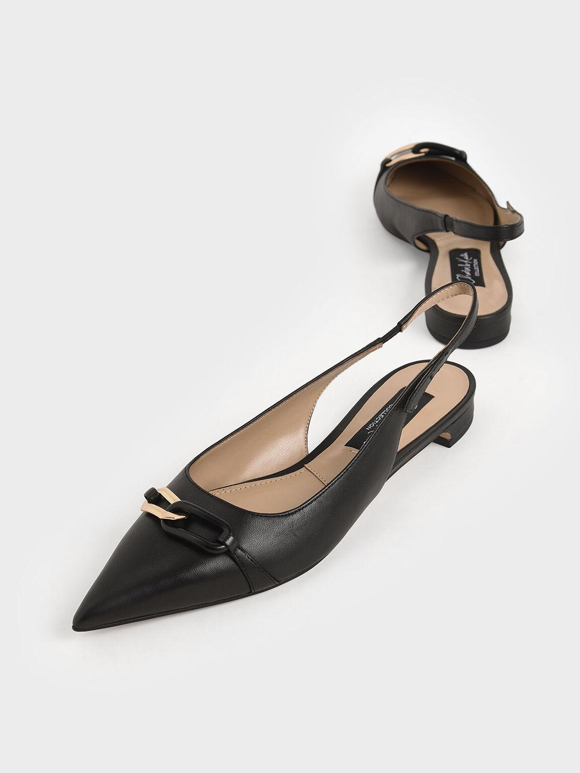 Embellished Leather Slingback Pumps, Black, hi-res