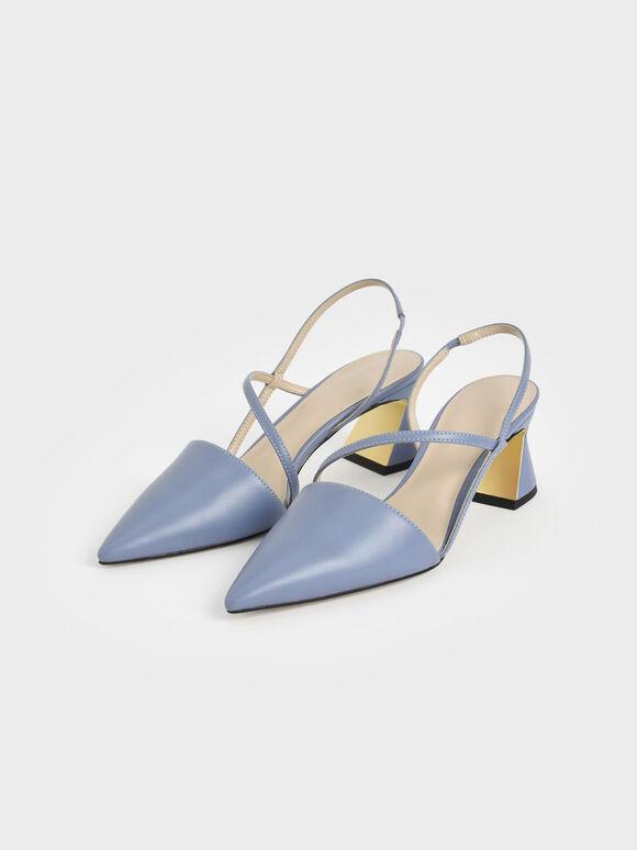 幾何帶三角跟鞋, 淺藍色, hi-res