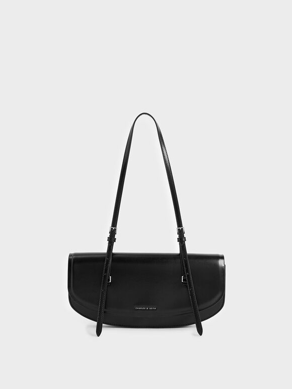 Single Handle Shoulder Bag, Black, hi-res