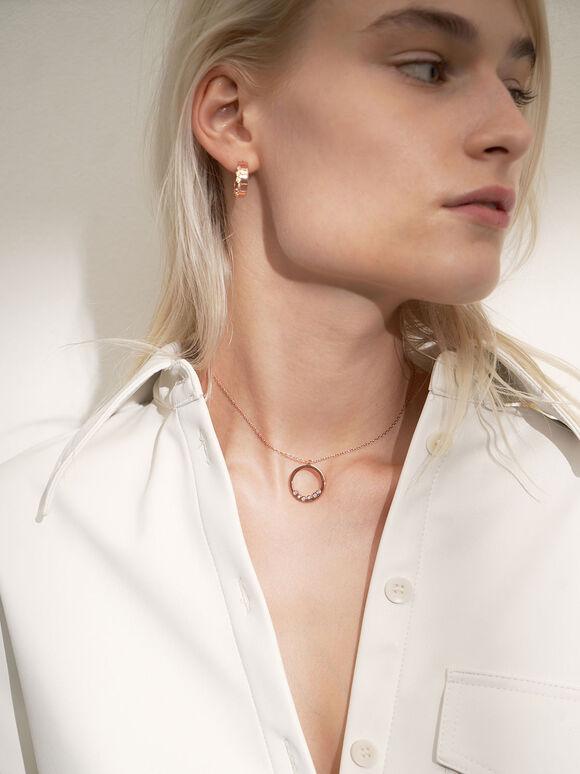 Swarovski® Crystal Studded Hoop Earrings, Rose Gold, hi-res