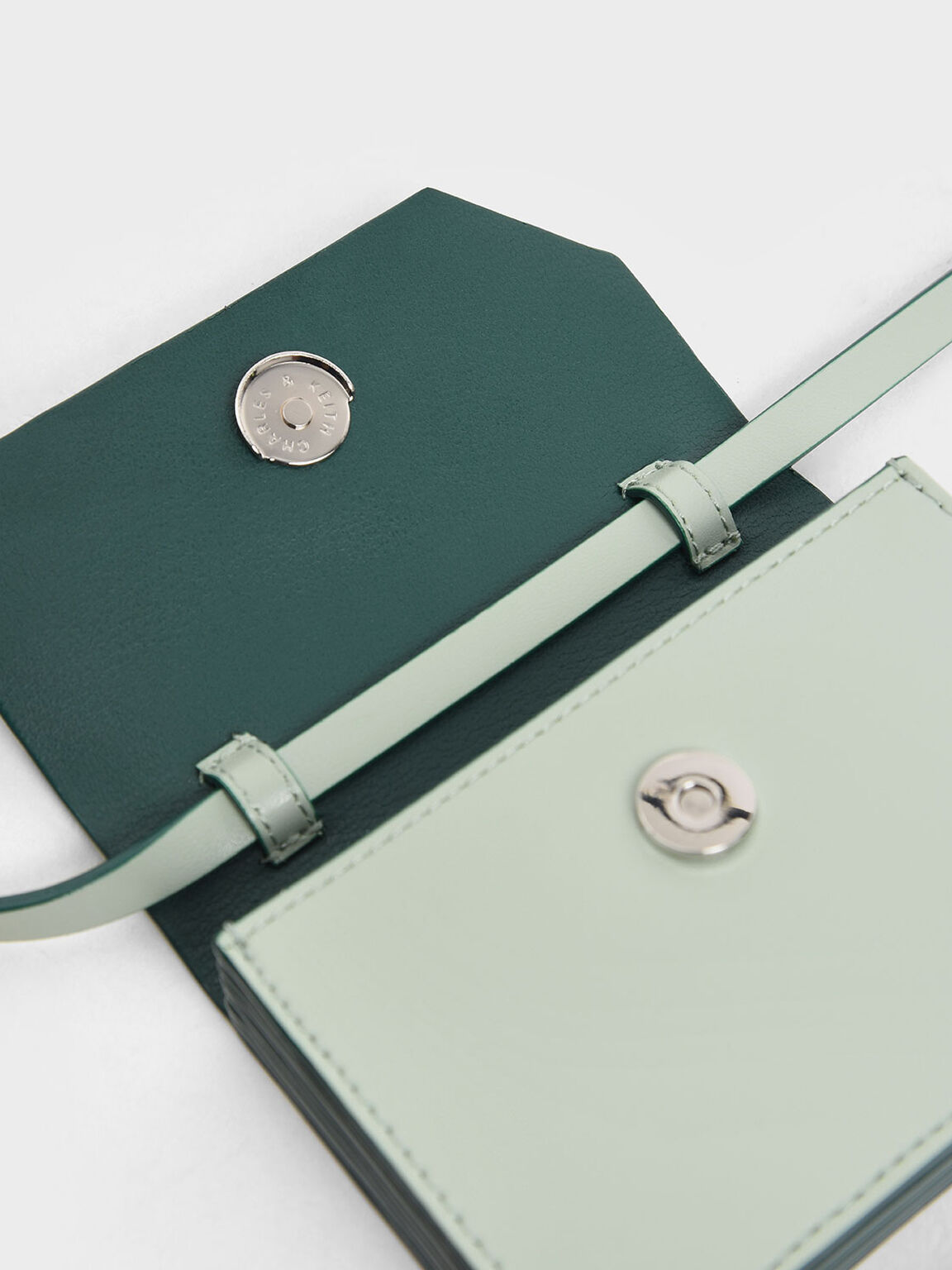 Front Flap Card Holder, Mint Green, hi-res
