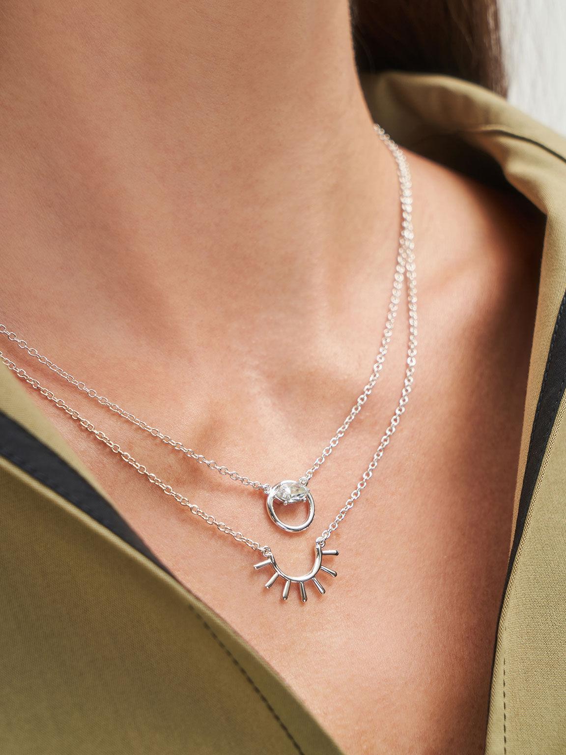 Swarovski® Crystal Pendant Princess Necklace, Silver, hi-res