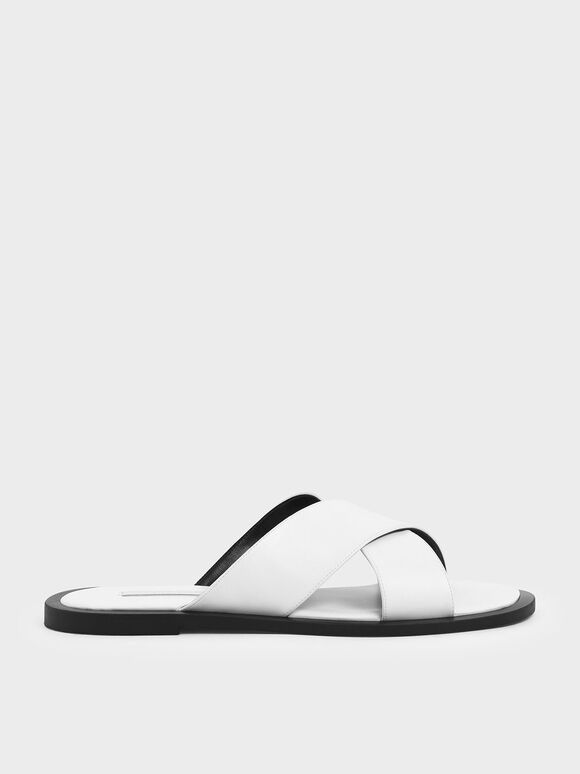 Criss Cross Slide Sandals, White, hi-res