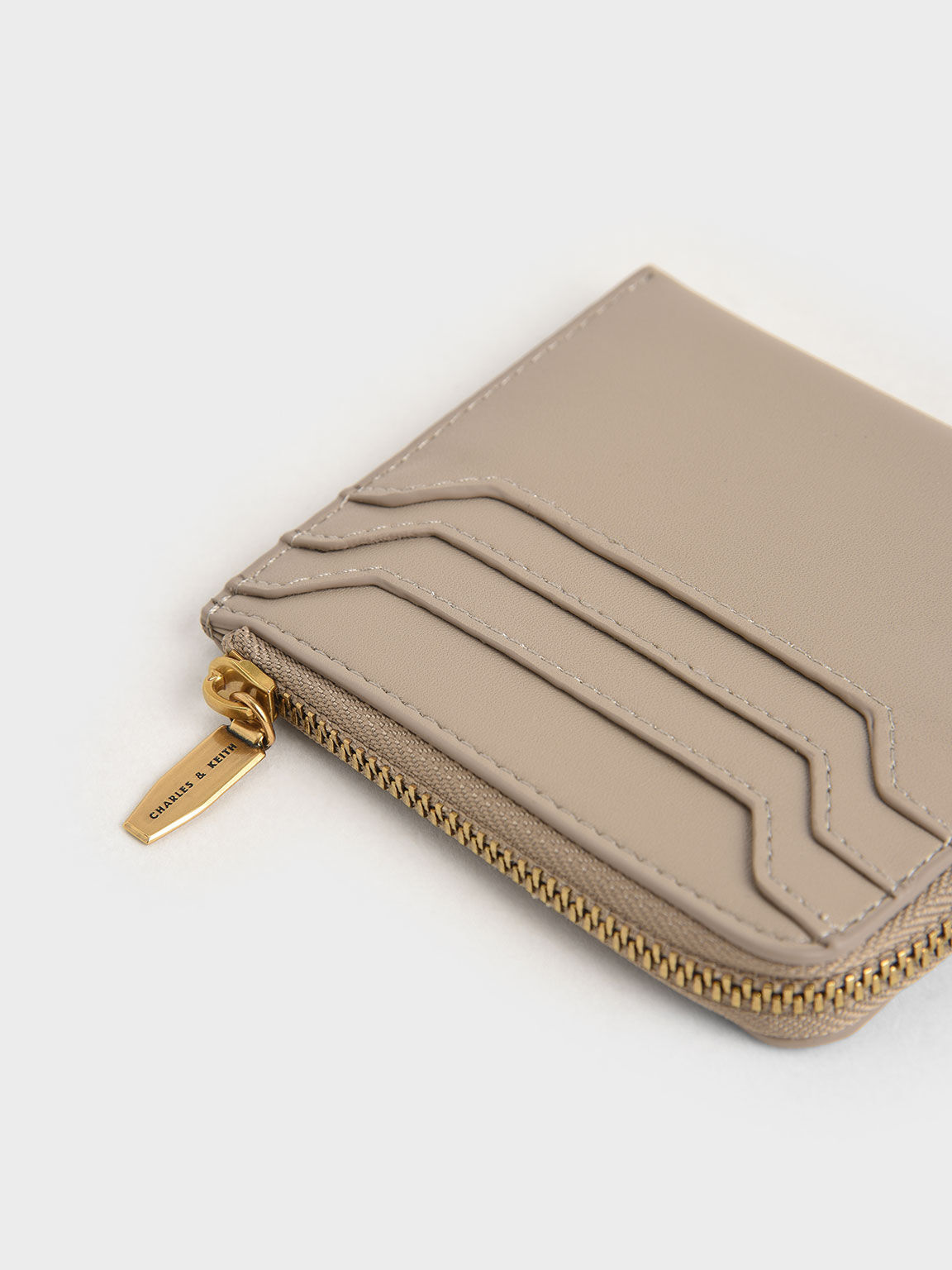 Zip Around Card Holder, Taupe, hi-res