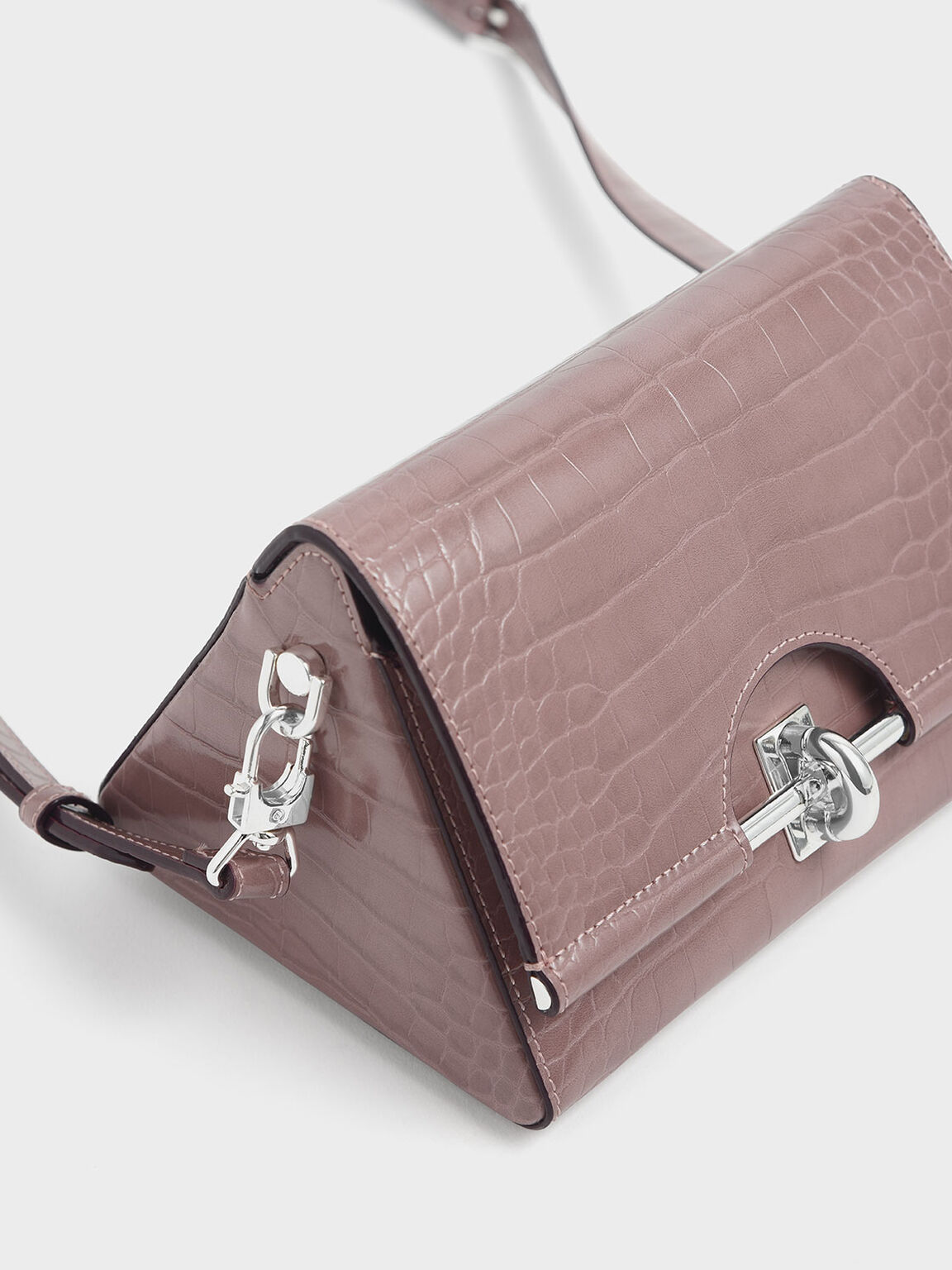 Croc-Effect Turn Lock Bag, Mauve, hi-res