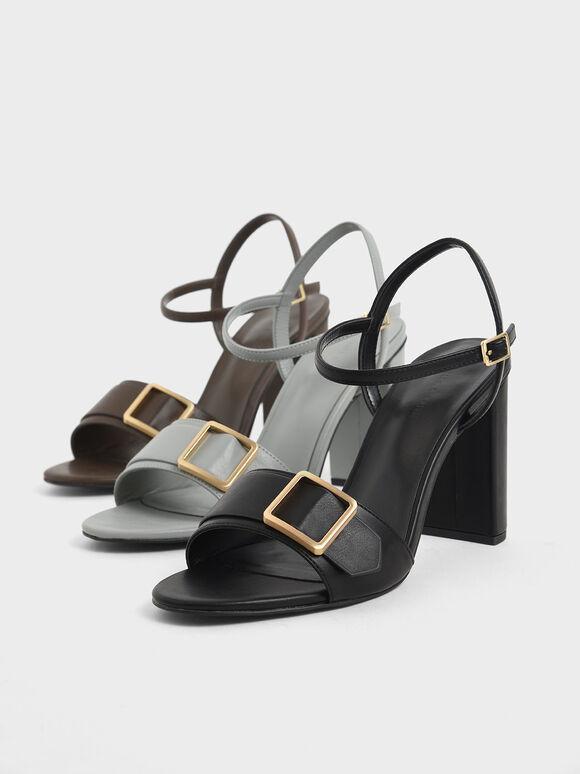 Frame Buckle Chunky Heel Sandals, Black, hi-res