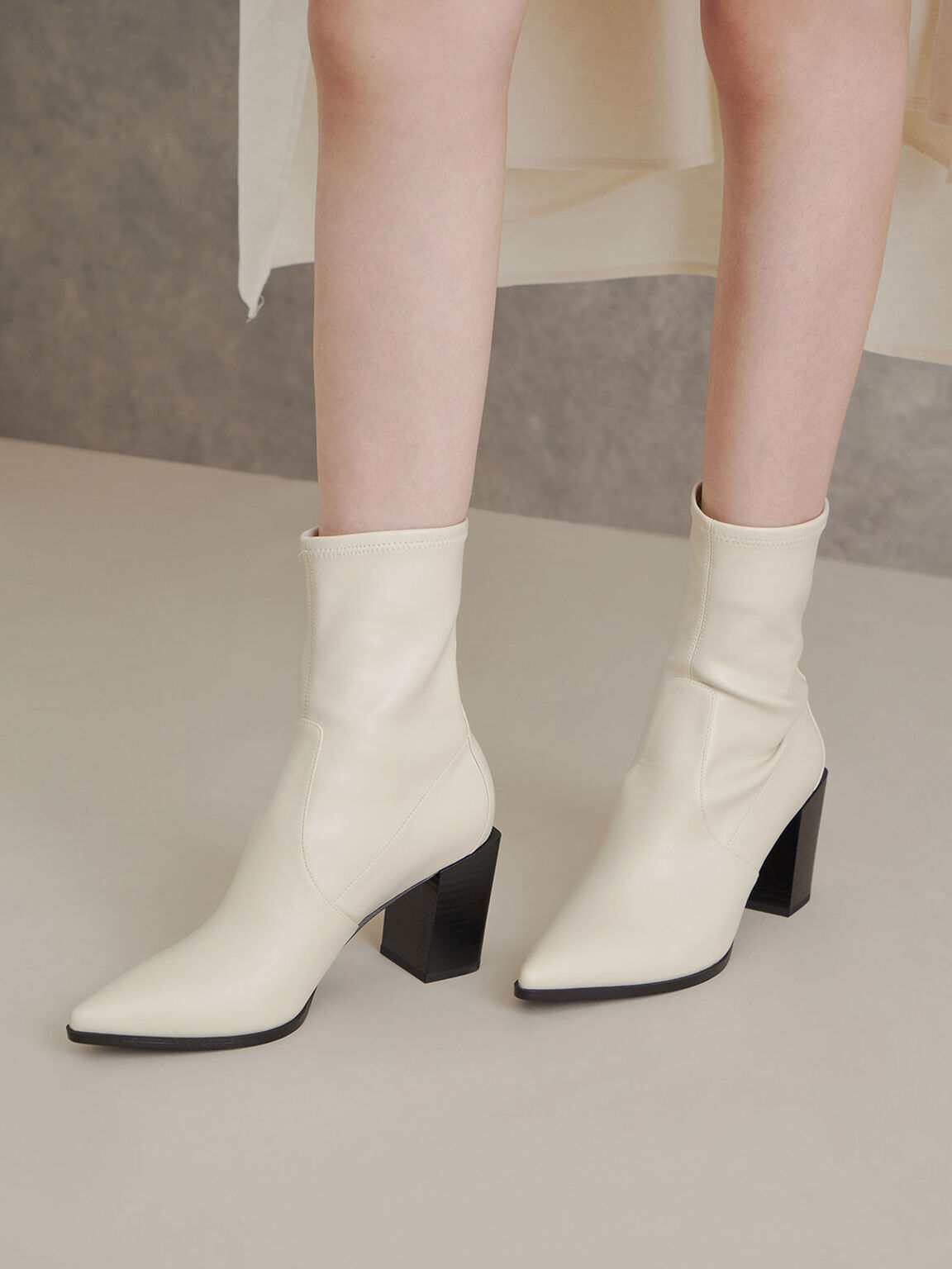 Stacked Heel Ankle Boots, Chalk, hi-res