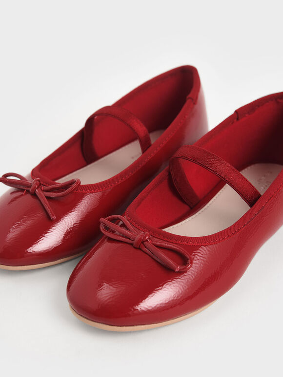 Girls' Patent Bow Ballerina Flats, Red, hi-res