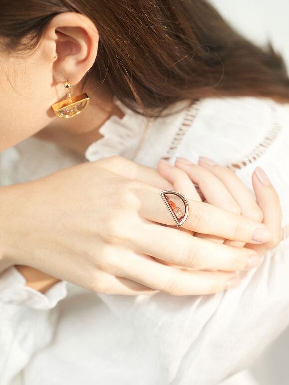 漂浮水晶戒指, 玫瑰金, hi-res