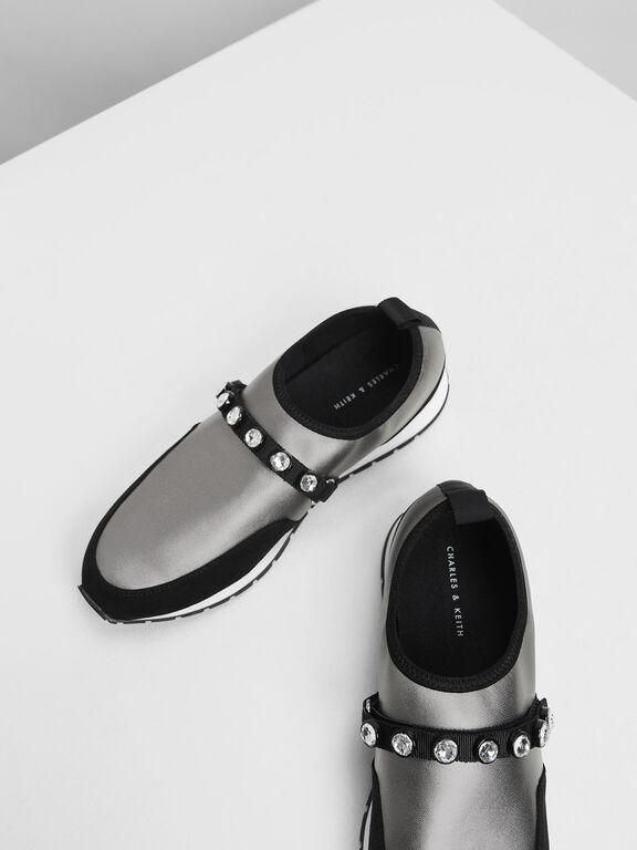 Embellished Slip-On Sneakers, Silver, hi-res