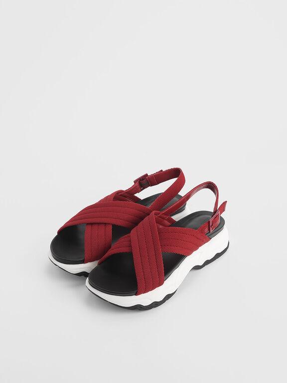 Nylon Criss Cross Chunky Platform Sandals, Red